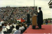 Mankato State University graduate at Commencement, 1980s
