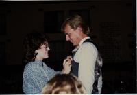 School of Nursing Pinning Ceremony at the Holiday Inn, Mankato, 1990-92. Pictured L-R: unknown, Scott Fiegel.