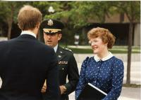 ROTC Ceremony, President Margaret Preska, ROTC Officer; Mankato State University