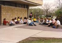 Class activity outside of Armstrong Hall at Mankato State University, 1990-06-26.