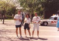 Students on campus mall promoting coalition for change at Mankato State University, 1991-05-15.