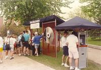 Students at Mankato State University campus line up to participate in Delco Electronics games, 1991-05-17.
