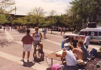 Delta Tau Delta Fraternity tables on Campus Mall at Mankato State University, 1991-05-15.