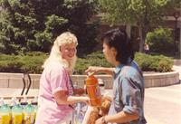 Students on the Campus Mall at Mankato State University, 1991-05-15.