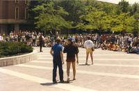 Students gathered on the Campus Mall at Mankato State University, 1991-05.