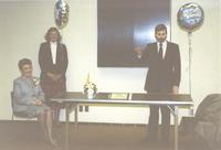 College President, Dr. Margaret R. Preska and staff at Mankato State University, 1989-04-03.