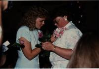 School of Nursing Pinning Ceremony at the Holiday Inn, Mankato, 1990-92. Pictured L-R: Lindy Olsen, Joleen Bieraugal.