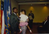 Unidentified people greeting at ROTC graduation Mankato State University June 7, 1991.