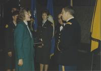 Margaret Preska meeting with some ROTC officers Mankato State University May 4, 1990.