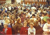 Crowd waiting for Hillary Clinton to speak Mankato State University October 14, 1992.