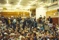Crowd and media watching as Hillary Clinton walks out onto stage Mankato State University October 30, 1992.