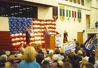 Hillary Clinton gives a speech at the Otto Arena at Mankato State University, October 30, 1992.