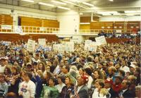The crowd listens to Hillary Clinton as she gives her speech at Mankato State University, October 30, 1992.