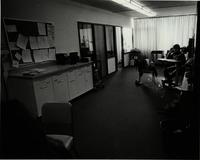 Office spaces with student working at School of Nursing, Mankato State University, 1980.