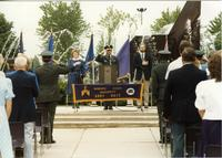 ROTC Ceremony, President Margaret Preska, Officers and guests; Mankato State University