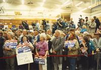 Crowd waits patiently for Hillary Clinton in Otto Arena at Mankato State University, 1992-10.