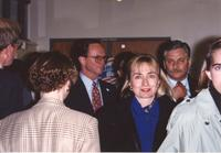 College President, Richard Rush (center) and Hillary Clinton at Mankato State University, 1992-10.
