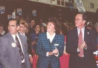 Stan Christ (left), Kathy Sheran (center), and College President Richard Rush at Otto Arena, Mankato State University, 1992-10.