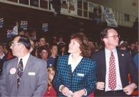 Stan Christ (left), Kathy Sheran (center), and Mankato State University College President Richard Rush (right) at Otto Arena for the Clinton-Gore campaign, 1992-10.