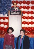 Guest speaker and staff at the Clinton-Gore campaign at Otto Arena, Mankato State University, 1992-10.