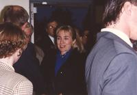 Hillary Clinton makes her way towards Otto Arena at Mankato State University, 1992-10.