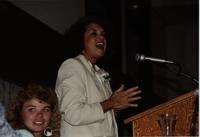 Patricia Earle speaking at the School of Nursing Pinning Ceremony at the Holiday Inn, Mankato, 1990-92. Pictured L-R: Lindy Olsen, Patricia Earle, Asst. Professor of Nursing.
