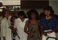 School of Nursing Pinning Ceremony at the Holiday Inn, Mankato, 1990-92. Pictured L-R: unknown, unknown, Kelly Langworthy, unknown, unknown.
