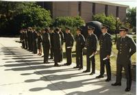 ROTC officers lined up at ceremony, Mankato State University