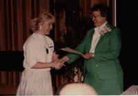 School of Nursing Pinning Ceremony at Mankato's Centennial Student Union, May 18th, 1991. Pictured Right: Dr. Kathryn Schweer, Dean of School of Nursing.