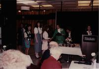 School of Nursing Pinning Ceremony at Mankato's Centennial Student Union, May 18th, 1991. Pictured R-L: Mary Peterson, Marua Borkenhagen, Dr. Kathryn Schweer.