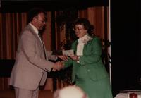 School of Nursing Pinning Ceremony at Mankato's Centennial Student Union, May 18th, 1991. Pictured L-R: Dennis Steckelberg, Dr. Kathryn Schweer, Dean of School of Nursing.