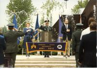 ROTC Ceremony, Officer saluting, President Margaret Preska; Mankato State University