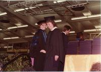 Mankato State University President Margaret Preska and graduate at Commencement, 1985