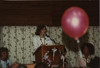 Dr. Margaret Preska speaking at the School of Nursing Pinning Ceremony at the Holiday Inn, Mankato, 1990-92. Pictured L-R: Lindy Olsen, Dr. Margaret Preska, Mankato State University President, Patricia Earle, Asst. Professor of Nursing.