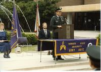 ROTC Ceremony, officer speaking; Mankato State University