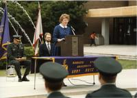 President Margaret Preska speaking at ROTC event; Mankato State University