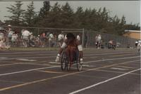 Wheelchair Competition. Competitor in the Cerebral Palsy Games, Mankato State University, July 15th, 1989.