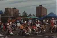 Wheelchair Competition. Competitors in the Cerebral Palsy Games. Gage Towers in the background at Mankato State University, July 15th, 1989.