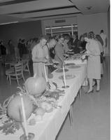 Lining up for a Harvest Feast.  Mankato State College January 13, 1961.