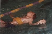 Swimming Competition. Competitor in the Cerebral Palsy Games, Mankato State University, July 15th, 1989.