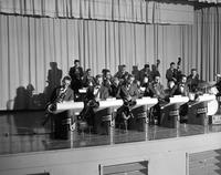A musical instruments performance on stage, Mankato State College, 1960-10-31