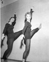 Two unknown female students practicing ballet, Mankato State College, 1960-10-31