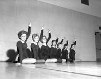 A group of female students practicing ballet, Mankato State College, 1960-10-31