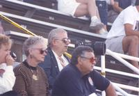 Audience watching intently at an event. on September 8, 1990. Mankato State University.
