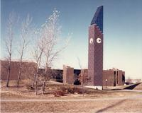 Mankato State University, Ostrander Student Memorial Bell Tower.  In the background is Trafton Science Center.
