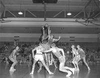 Mankato State College basketball team versus St. John University at Mankato State College, 1958-12-08.