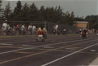 Wheelchair Competition. Competitors in the Cerebral Palsy Games, Mankato State University, July 15th, 1989.