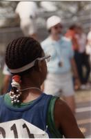 A picture of a participant in the 1989 Mankato State University National Cerebral Palsy Games.