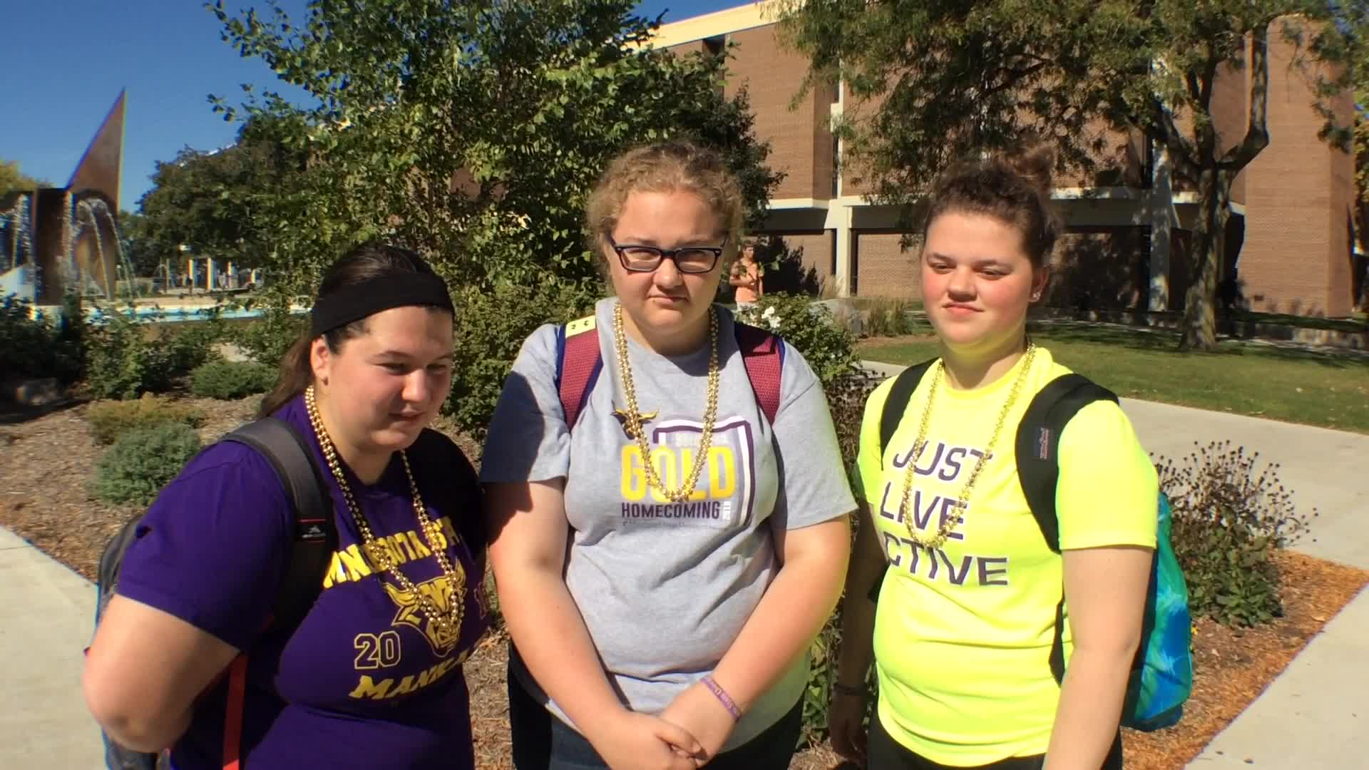 Emma Kearney, Allyson Vorwerk, and Rachel Gruber, Mankato, MN - Homecoming 2016 at Minnesota State University, Mankato