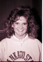 A portrait of a female Mankato State University student, 1980s.